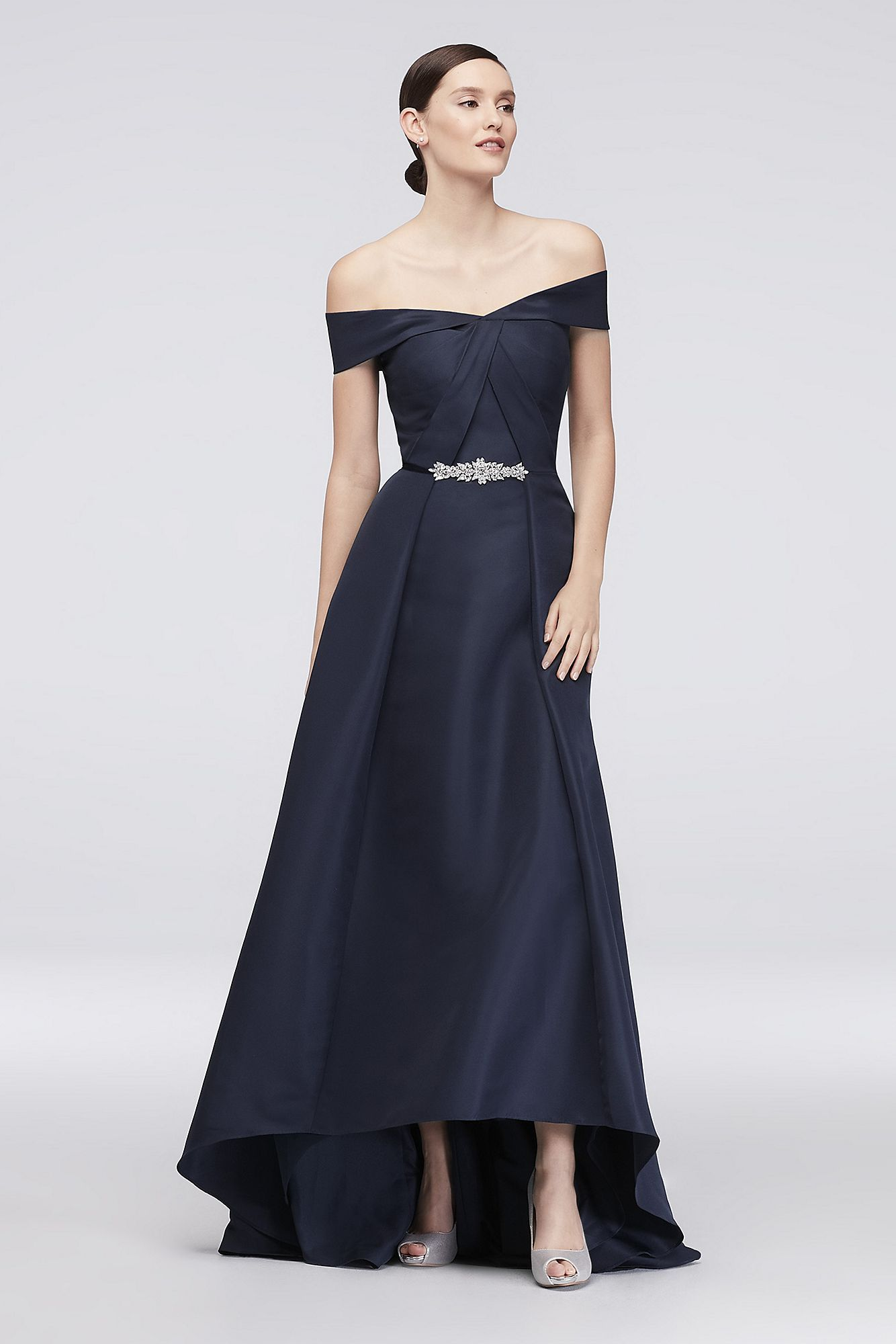 Truly Zac Posen Embellished Waist Off-the-Shoulder Satin Ball Gown
