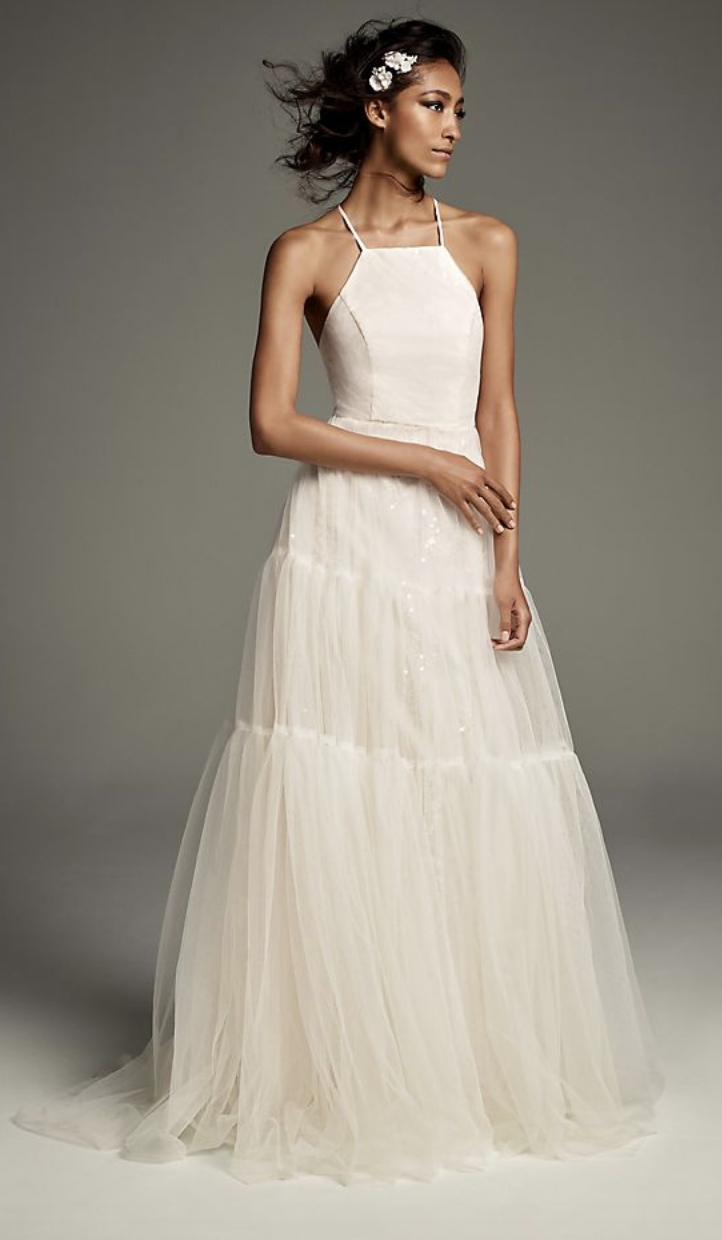 White by Vera Wang Tulle-Over-Sequin Halter Gown with Peasant Skirt