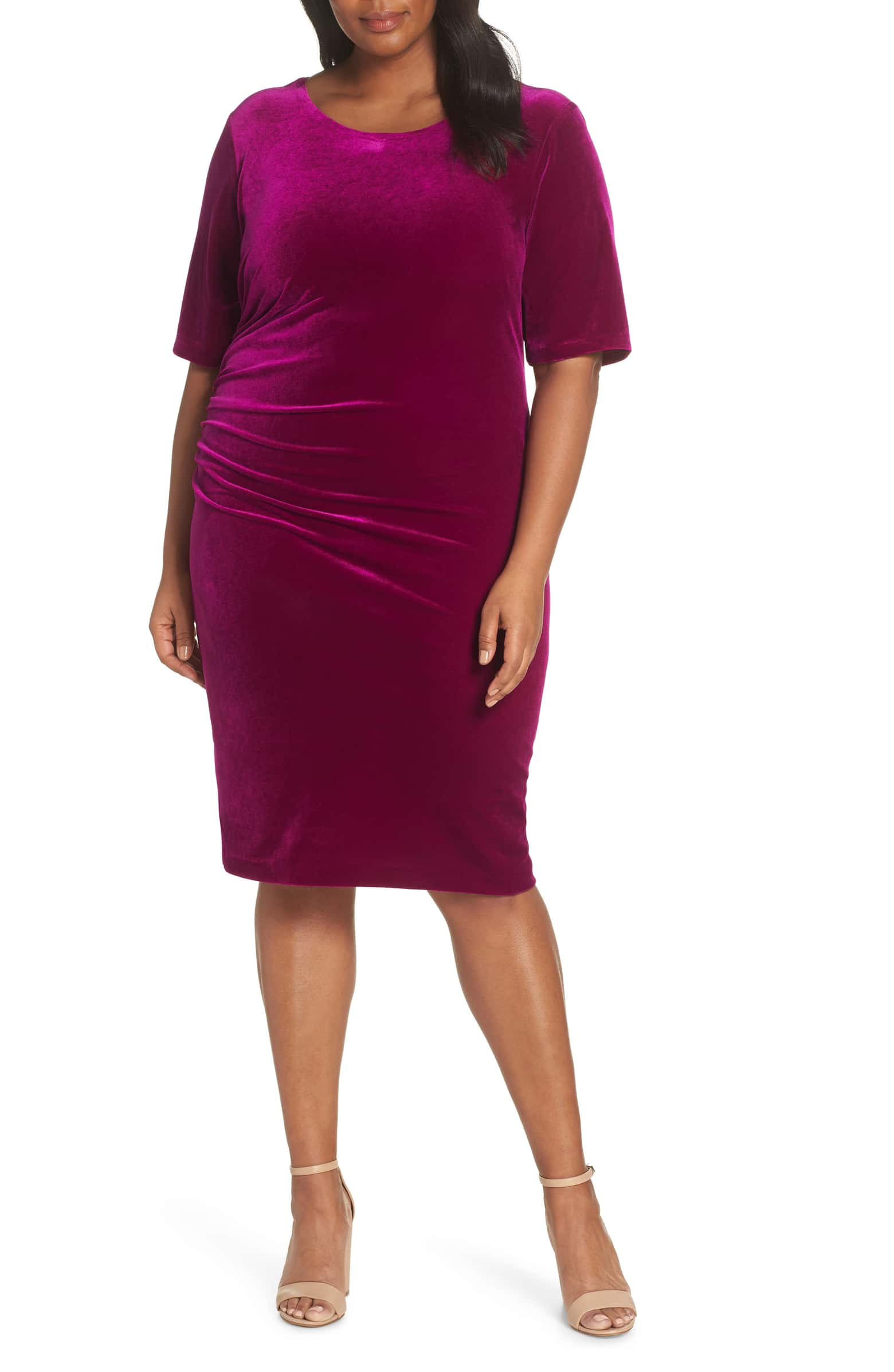 Vince Camuto Velvet Side Ruche Body-Con Dress
