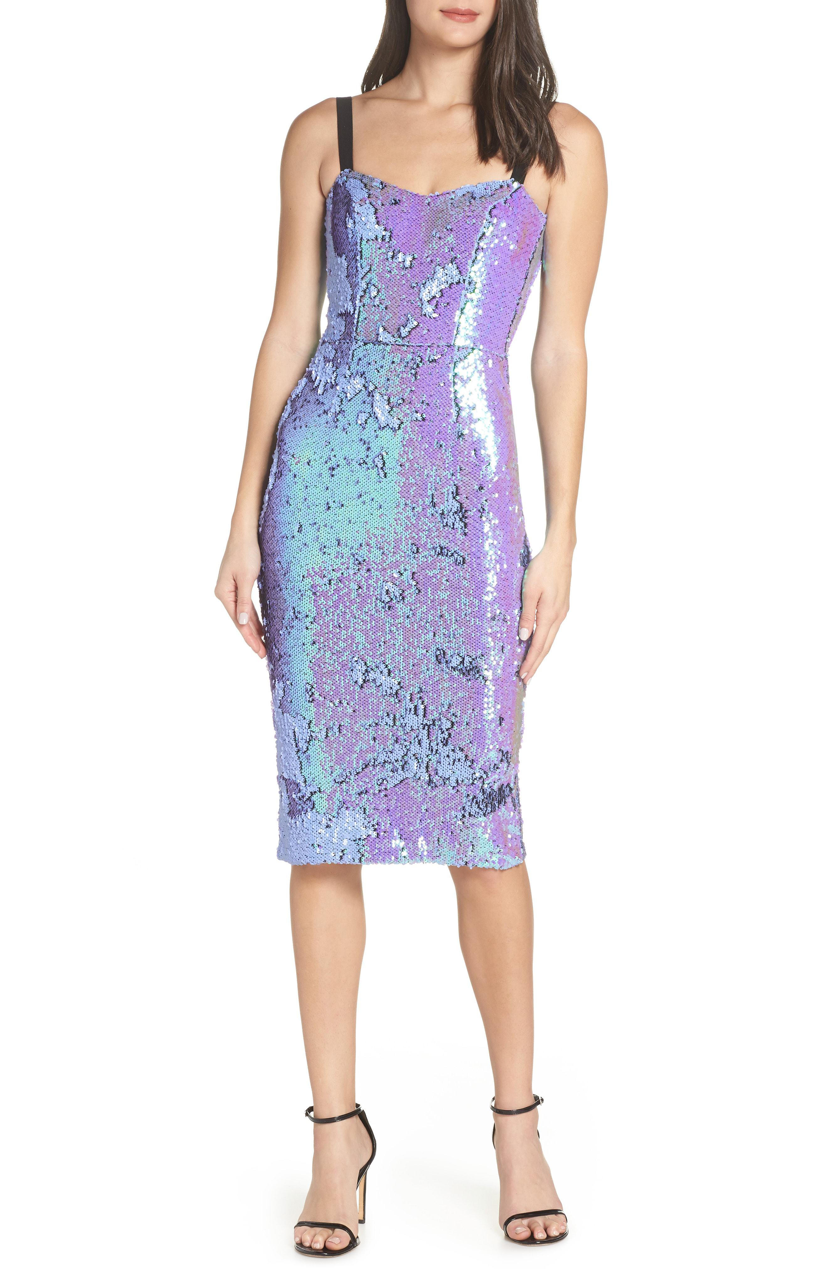 Lynda Iridescent Sequin Sheath Dress