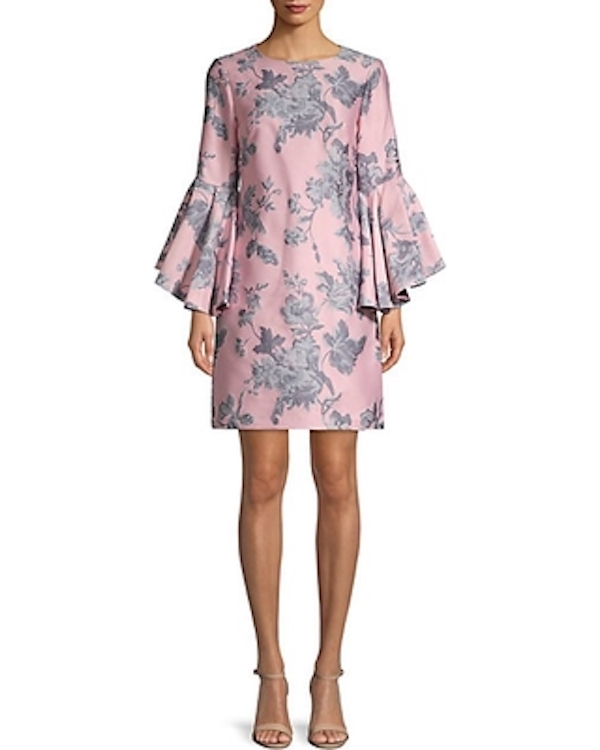 Belle Badgley Mischka Freya Floral Bell-Sleeve Shift Dress
