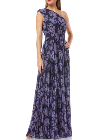 Kay Unger New York Floral-Printed One-Shoulder Pleated Chiffon Gown