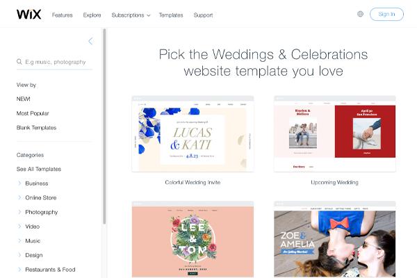 Wix Wedding Website