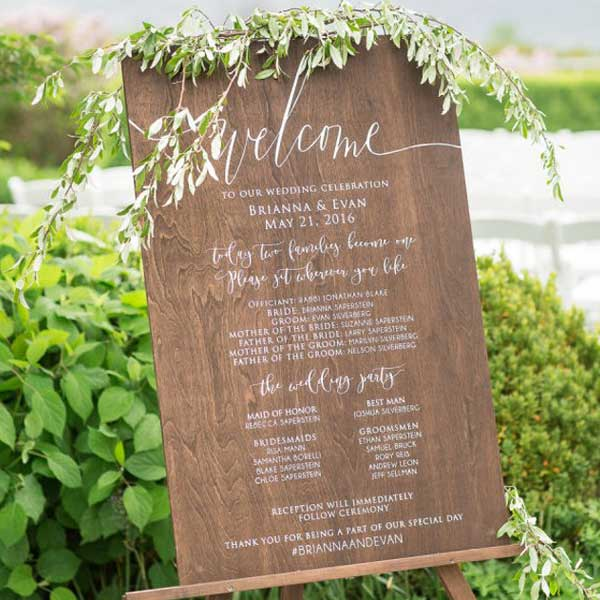 Rustic Wedding Program Wooden Sign