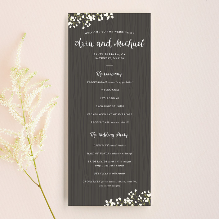 Rustic Wedding Program Wood and Flower